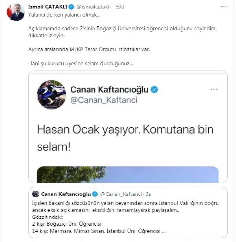 Çataklı'dan,CHP İstanbul İl Başkanı Kaftancıoğlu'nun paylaşımına ilişkin açıklama