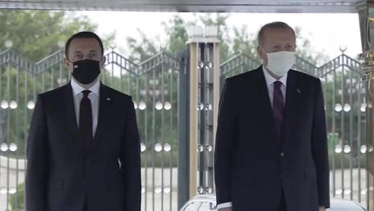 Cumhurbaşkanı Erdoğan, Garibashvili'yi resmi törenle karşıladı