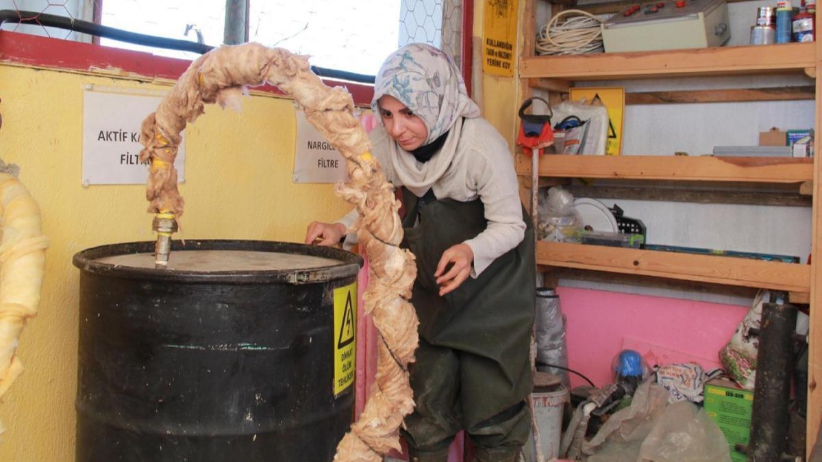 Girişimci kadın tezekten biyogaz üretti