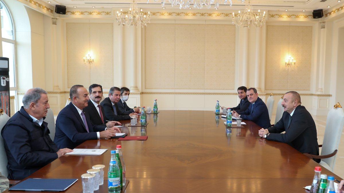 Mevlüt Çavuşoğlu ve Hulusi Akar, İlham Aliyev ile görüştü