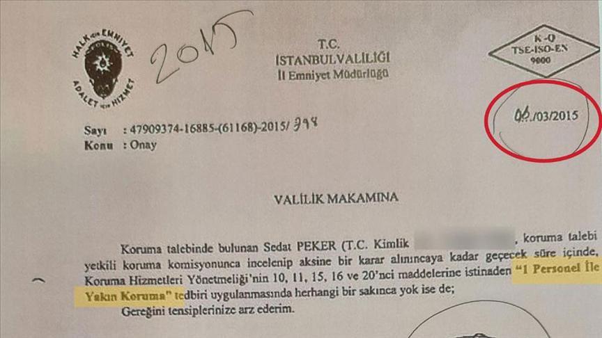 Sedat Pekere koruma polisi verilmesi kararlarının yer aldığı...