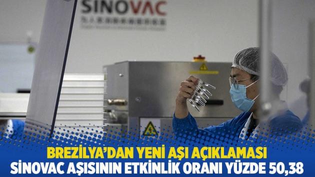 Brezilya'dan yeni aşı açıklaması: Sinovac aşısının etkinlik oranı yüzde 50.38