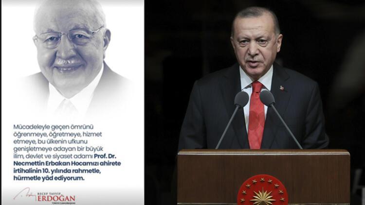 Cumhurbaşkanı Erdoğan, merhum başbakanlardan Erbakanı andı