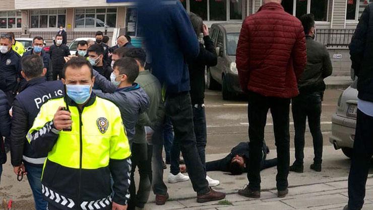 Emniyet önünde bıçaklı kavga! Polis memuru ve bekçi yaralandı